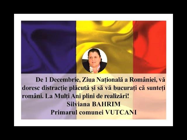 VIDEO: MESAJ DE ZIUA NAȚIONALĂ A ROMÂNIEI  SILVIA BAHRIM – PRIMARUL COMUNEI VUTCANI