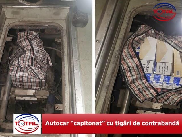 """VIDEO: Autocar """"capitonat"""" cu ţigări de contrabandă"""